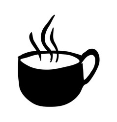 black silhouette hand drawn of hot coffee cup side vector image