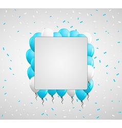 Blue balloons and confetti vector
