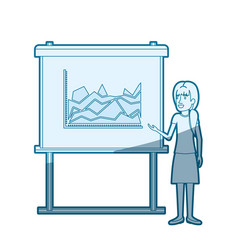 Blue color silhouette shading of businesswoman vector