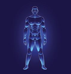blue light human male body vector image
