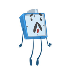 Blue surprised alarm clock character jumping vector