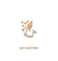 Boy partying concept 2 colored icon simple line vector