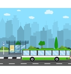 Bus Stop with City Skyline vector image