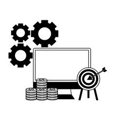 business computer target money coins vector image