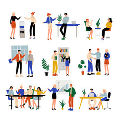 Business people working in office set colleagues vector