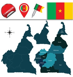 Cameroon map with named divisions vector