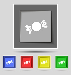Candy icon sign on original five colored buttons vector