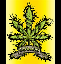Cannabis marijuana green design leaf symbol vector image