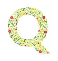 capital letter q green floral alphabet element vector image