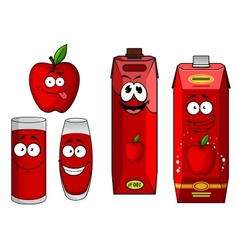 Cartoon apple with apple juice in containers vector