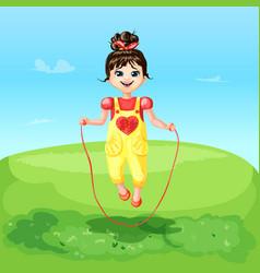 Cartoon happy joyful cheerful smiling girl vector