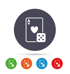 casino sign icon playing card with dice symbol vector image
