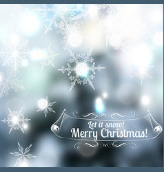 Christmas blurred background with snowflakes vector