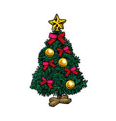 christmas tree isolate on white background vector image