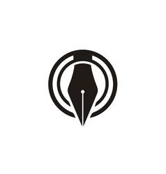 Circular pen symbol logo design for journalist wr vector