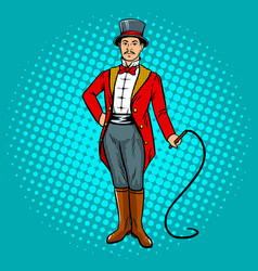 circus trainer with whip pop art vector image