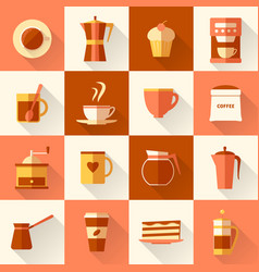 coffee icons set in flat style with long shadow vector image