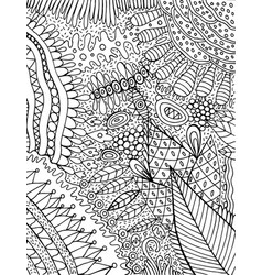 Coloring page for adults with floral cartoon vector