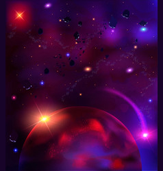 Cosmic background with asteroids meteorites vector