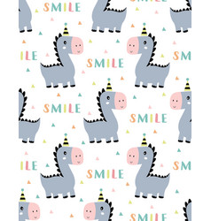 cute smile dino seamless pattern vector image