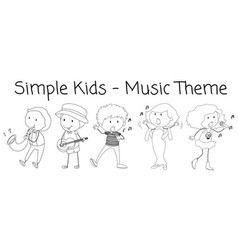 doodle musician character on white background vector image