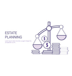 estate planning concept template web banner with vector image