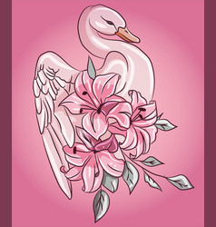 fabulous pink swan with floral rose lily flowers vector image
