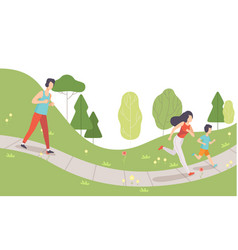 family running in park mother father and their vector image