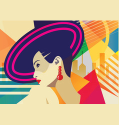 fashion girl in style pop art vector image