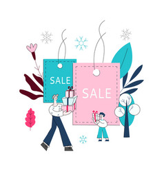 flat man and boy kids with shopping bags vector image