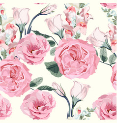 floral seamless pattern with pink roses vector image