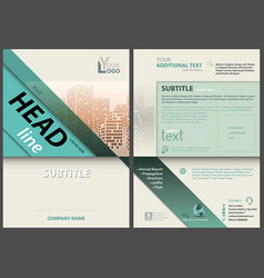 flyer template with stripes and city skyline vector image