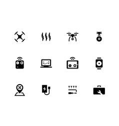 Flying drone icons on white background vector