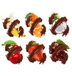 fruits and berries in chocolate splash banana vector image