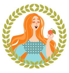 Funny girl is eating a ripe apple vector