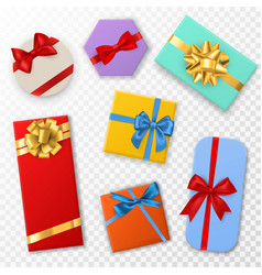 gift box with bows top view gift vector image