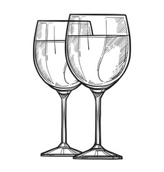 Glass of wine freehand pencil drawing vector