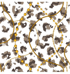 golden chains on leopard skin vector image