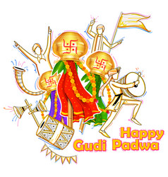 Gudi padwa celebration of india vector
