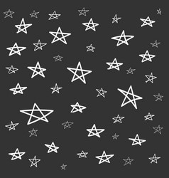 hand drawn star pattern with ink doodles simple vector image