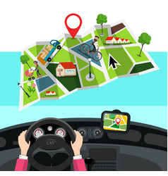 hands on steering wheel with city map in car gps vector image