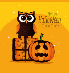 happy halloween card with owl vector image