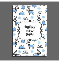 Happy new year card with cute cartoon reindeer vector