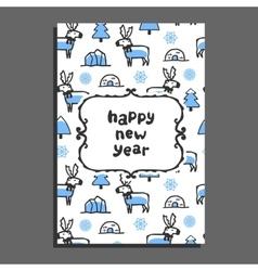 Happy new year card with cute cartoon reindeer vector