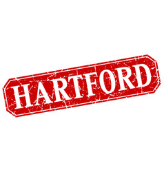 Hartford red square grunge retro style sign vector