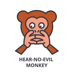 Hear no evil emoji line icon sign vector