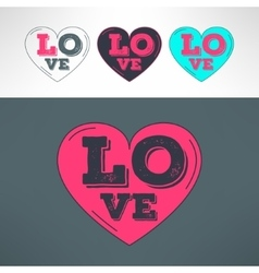hearts set for tshirt print design Love vector image