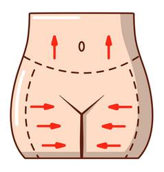 Hips liposuction icon cartoon style vector