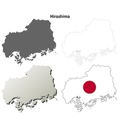 Hiroshima blank outline map set vector