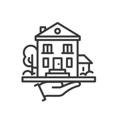 house - line design single isolated icon vector image